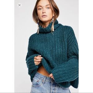Free People Fluffy Fox Teal Chunky Knit Sweater